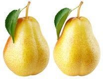 Gelbe Birnenfrucht mit grünem Blatt auf Weiß Stockfoto