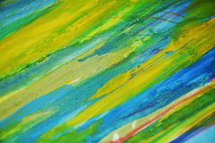 Gelbe blaue Kontraste, kreativer Hintergrund des Farbenaquarells Stockfoto