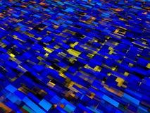 Gelbe blaue Zusammenfassung quadriert Hintergrund-Illustration Lizenzfreies Stockfoto