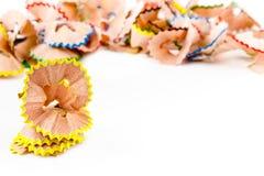 Gelbe Bleistift-Schnitzel Stockbilder