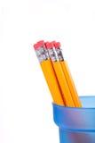 Gelbe Bleistifte in einem blauen Cup. Stockfotografie