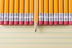 Gelbe Bleistifte u. Radiergummis auf Papier Stockfotografie