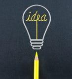 Gelbe Bleistiftskizze in der Glühlampeform zünden das Ideenwort O an Stockfoto