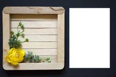 Gelbe Blume mit Grün verlässt auf einem hölzernen Hintergrund Hölzernes Quadrat auf einem schwarzen Hintergrund lizenzfreies stockbild
