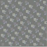 Gelbe Blumen, Basisrecheneinheit, Inneres mit Tropfen Grauer Hintergrund mit abstrakten symmetrischen weißen und purpurroten Blum Lizenzfreies Stockfoto