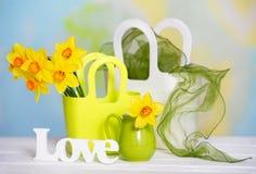 Gelbe Blumen des Frühlinges und Liebeszeichen Stockfotos