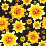 Gelbe Blumen am schwarzen Hintergrund Stockfoto