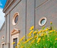 Gelbe Blumen und Kirche Lizenzfreies Stockfoto
