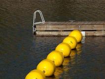Gelbe Bojen und hölzernes Dock Stockbilder