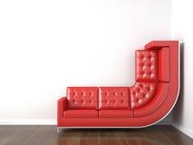 Gelbe Couch verbog, um oben zu steigen Lizenzfreie Stockbilder