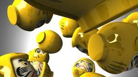 Gelbe daruma Puppen auf weißem Hintergrund vektor abbildung
