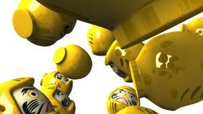 Gelbe daruma Puppen auf weißem Hintergrund stock abbildung