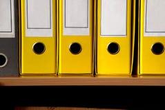 Gelbe Dateireihe Lizenzfreie Stockfotos