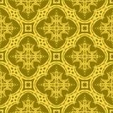 Gelbe dekorative nahtlose Linie Muster Lizenzfreie Stockfotografie