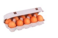 Gelbe Eier im Kasten Lizenzfreies Stockfoto