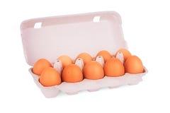 Gelbe Eier im Kasten Stockbild