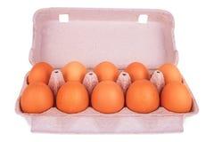 Gelbe Eier im Kasten Lizenzfreies Stockbild