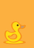 Gelbe Entlein-Hand gezeichnete Vektor-Karikatur Stockbild
