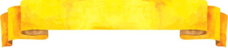 Gelbe Fahne des Aquarells Auch im corel abgehobenen Betrag Lizenzfreie Stockfotos