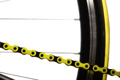 Gelbe Fahrradkette Lizenzfreie Stockfotografie