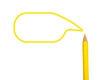 Gelbe Farbbleistifte und -Textbox auf Weiß Lizenzfreies Stockfoto