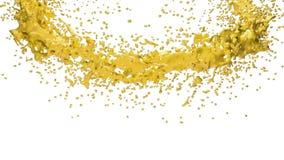 Gelbe Farbe, die einen Kreis auf klarem weißem Hintergrund bildet Alpha Matt-, volles hd, CG, 3d übertragen Element von Bewegungs lizenzfreie abbildung