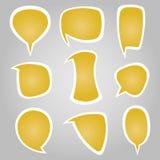 Gelbe Farbkalligraphische Sprache-Blasen Lizenzfreie Stockfotos