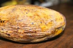 Gelbe faule Mangofrucht lokalisiert auf hölzernem stockfotos