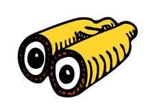 Gelbe Ferngläser mit Augen lizenzfreie abbildung