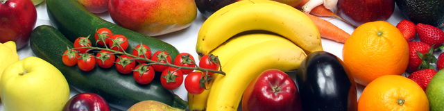 Gelbe Früchte und veg Lizenzfreie Stockfotos