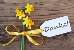 Gelbe Frühlings-Narzissen, Aufkleber, schwarze Danke-Durchschnitte danken Ihnen Lizenzfreie Stockbilder