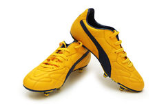 Gelbe Fußballmatten Stockbild