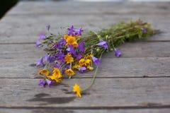 Gelbe Gänseblümchen und Glockenblumen in einem Glas auf den Brettern Lizenzfreie Stockfotos