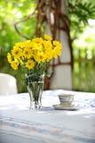 Gelbe Gänseblümchen und Tee Cup draußen Stockfotografie