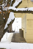 Gelbe Gebäude-Front im Winter-Schnee Stockfotografie