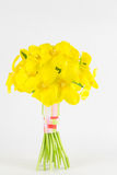 Gelbe gebundene Anordnung der Tulpe Hand Stockfotografie
