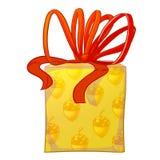 Gelbe Geschenkbox mit rotem Bogen Lizenzfreie Stockfotos