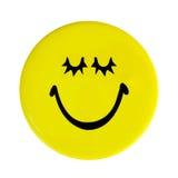 Gelbe glückliche Gesichtstaste Stockfoto