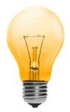 Gelbe Glühlampe getrennt Stockfoto