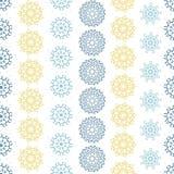 Gelbe graue abstrakte Mandalen streiften nahtlosen Musterhintergrund Lizenzfreie Stockfotografie