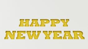 Gelbe guten Rutsch ins Neue Jahr-Wörter geschnitten in Weißbuch Stockfotos