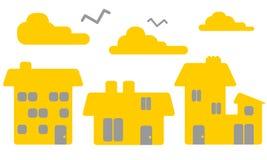 Gelbe Häuser Stock Abbildung