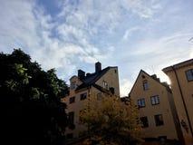 Gelbe Häuser in Stockholm stockfoto