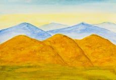 Gelbe Hügel im Herbst, Aquarell Lizenzfreie Stockbilder