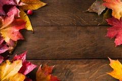 Gelbe Herbstblätter auf altem Holz des Hintergrundes stockbild