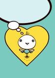 Gelbe Herzen und kleine Vögel - Mitteilung steigt im Ballon auf Stockfoto