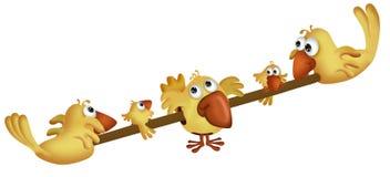 Gelbe Karikaturvögel Lizenzfreies Stockbild