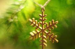 Gelbe Kegel auf weißem Hintergrund Schneeflocke, die an der Schnur hängt Bokeh Hintergrund Weihnachtsbaumzweig Stockfoto
