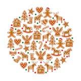 Gelbe Kegel auf weißem Hintergrund Weihnachtsplätzchensammlung - Lebkuchenplätzchenzahlen Lizenzfreies Stockfoto