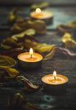 Gelbe Kerzen und Trockenblumeblumenblätter Lizenzfreie Stockfotos